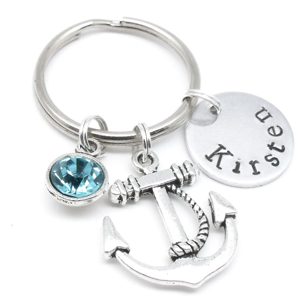 Anchor gift keyring personalised name birthstone
